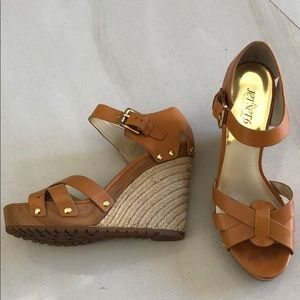 Michael Kors tan wedges size 9